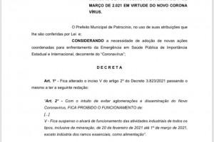 Mais um decreto foi divulgado na tarde de sexta-feira (19/02)