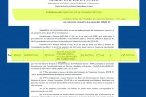 Ministério da Saúde autoriza pagamento R$432 mil mensais à Patrocínio